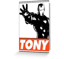 Iron Man Tony Obey Design Greeting Card