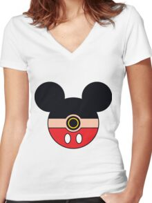 Mickey GO! Women's Fitted V-Neck T-Shirt