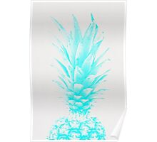 Blue Pineapple Xerox Watercolor Poster