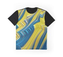 Blue Yellow Landscape Fine Fractal Art Graphic T-Shirt