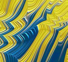 Blue Yellow Landscape Fine Fractal Art by Vicky Brago-Mitchell