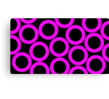 Black - Pink Rings Canvas Print
