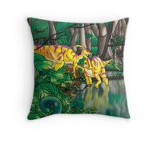 Dinosaur Swamp - Parasaurolophus Throw Pillow