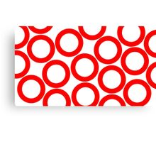 White - Red Rings Canvas Print