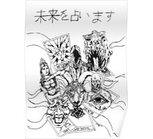 tarot card booster pack - black and white Poster
