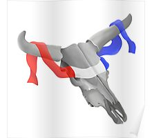 Cow Skull With Patriotic Banner Poster