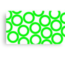 White - Green Rings Canvas Print