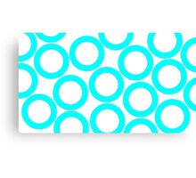 White - Cyan Rings Canvas Print