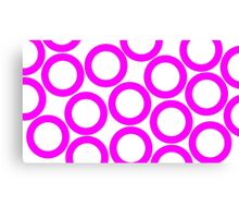 White - Pink Rings Canvas Print