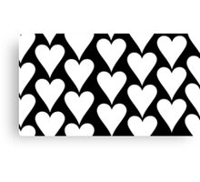 Black - White Hearts Canvas Print