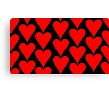 Black - Red Hearts Canvas Print