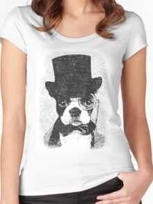 Cute Vintage Dog Wearing Glasses Women's Fitted Scoop T-Shirt