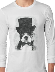 Cute Vintage Dog Wearing Glasses Long Sleeve T-Shirt