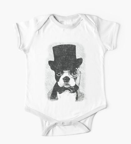 Cute Vintage Dog Wearing Glasses One Piece - Short Sleeve