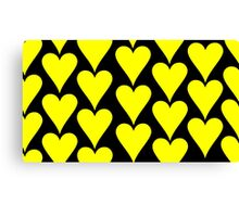 Black - Yellow Hearts Canvas Print