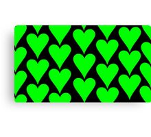 Black - Green Hearts Canvas Print