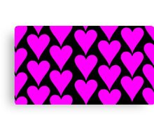 Black - Pink Hearts Canvas Print
