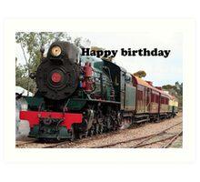 Happy Birthday Steam Train Locomotive 1 Art Print