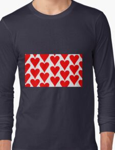 White - Red Hearts Long Sleeve T-Shirt