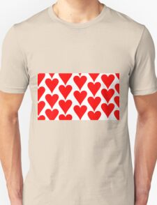 White - Red Hearts Unisex T-Shirt