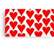 White - Red Hearts Canvas Print