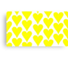 White - Yellow Hearts Canvas Print