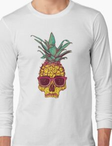 Pineapple Skull wearing sunglasses Long Sleeve T-Shirt