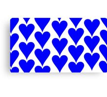 White - Blue Hearts Canvas Print