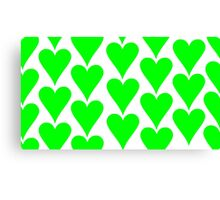 White - Green Hearts Canvas Print