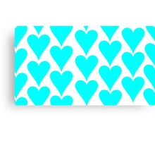 White - Cyan Hearts Canvas Print