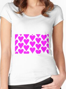 White - Pink Hearts Women's Fitted Scoop T-Shirt