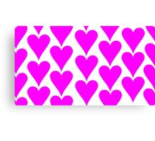 White - Pink Hearts Canvas Print