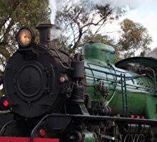 Steam train engine at railway crossing Sticker