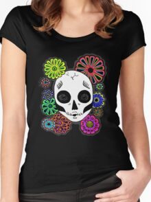 Kisses Sugar Skull Women's Fitted Scoop T-Shirt