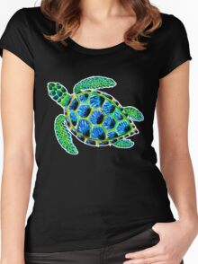 Psychedelic sea turtle in acrylic Women's Fitted Scoop T-Shirt