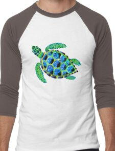 Psychedelic sea turtle in acrylic Men's Baseball ¾ T-Shirt
