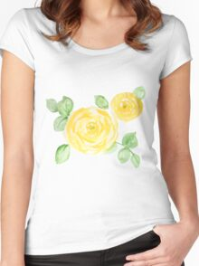 Watercolor yellow roses Women's Fitted Scoop T-Shirt