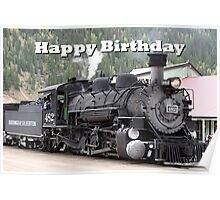 Happy Birthday: Steam train engine locomotive, Colorado 1 Poster