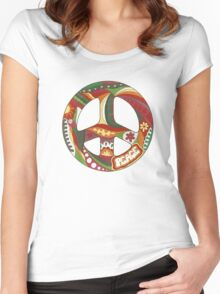 Vintage Psychedelic Peace Symbol Women's Fitted Scoop T-Shirt