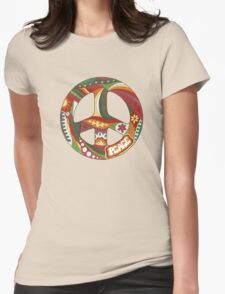 Vintage Psychedelic Peace Symbol Womens Fitted T-Shirt