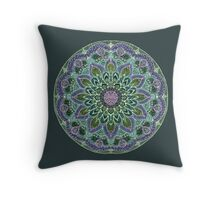 Hand Drawn Pink Purple Mandala  on Dark Throw Pillow
