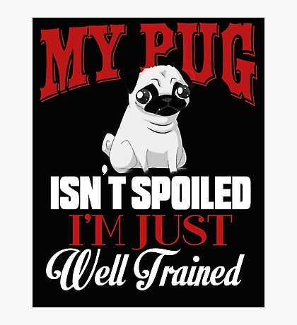 My Pug isn't Spoiled I'm Well Trained Photographic Print