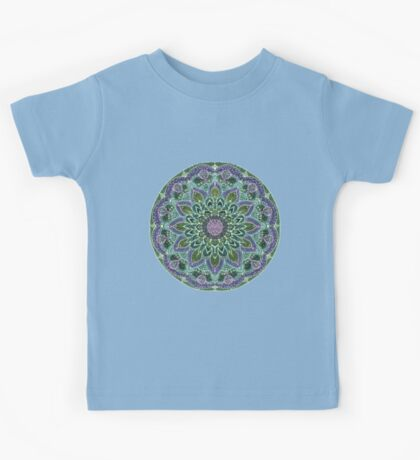 Hand Drawn Pink Purple Mandala  on Dark Kids Clothes