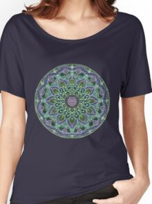 Hand Drawn Pink Purple Mandala  on Dark Women's Relaxed Fit T-Shirt