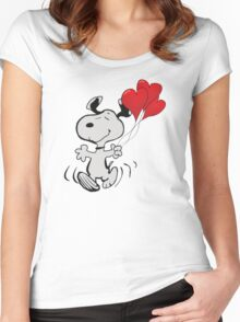 running snoopy love ballon Women's Fitted Scoop T-Shirt