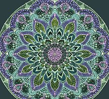 Pink Purple Mandala  on Black Background by Sviatlana Kandybovich