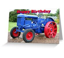 Happy Birthday: blue & red tractor Greeting Card