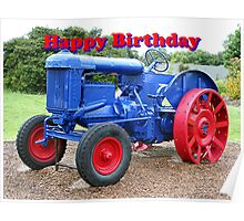 Happy Birthday: blue & red tractor Poster
