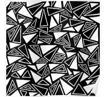 Black & White Triangle Pattern Poster