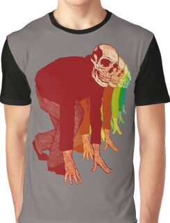 Racing Rainbow Skeleton Graphic T-Shirt